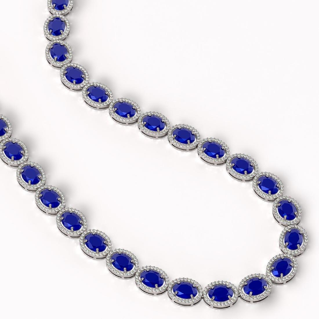 71.87 CTW Sapphire & Diamond Halo Necklace 10K White - 2