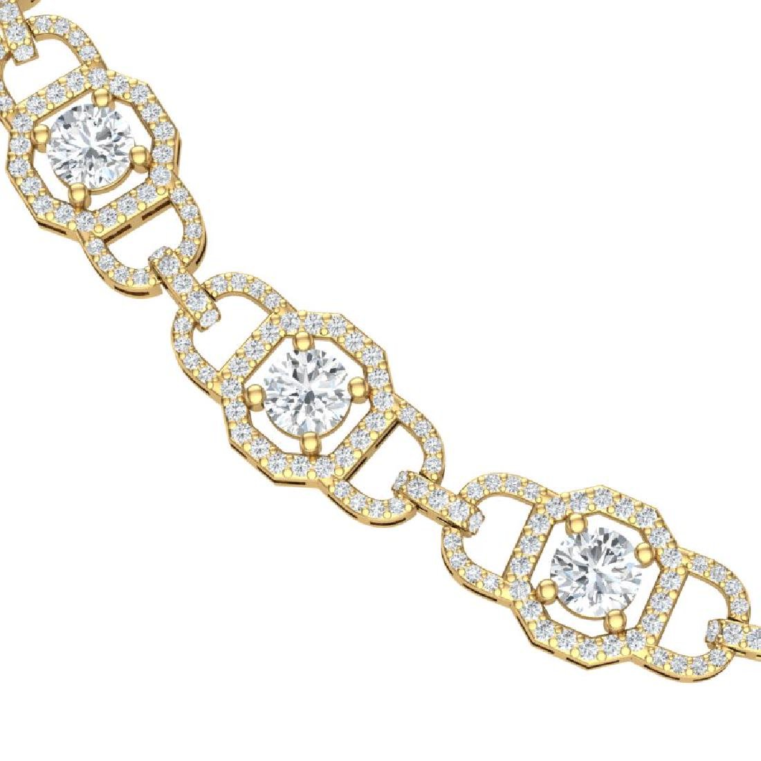 25 CTW Certified SI/I Diamond Halo Necklace 18K Yellow - 2