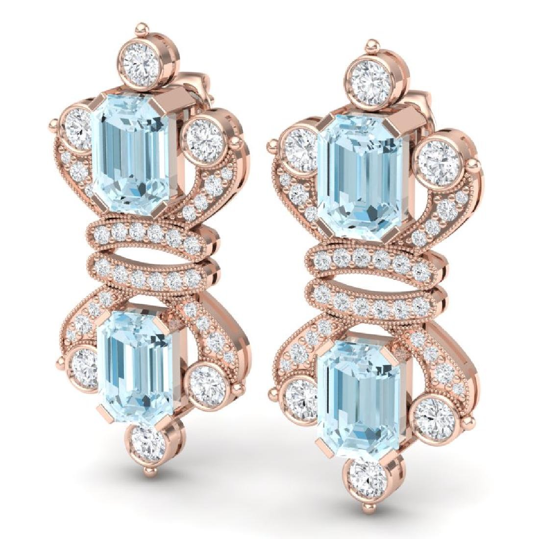 28.39 CTW Royalty Sky Topaz & VS Diamond Earrings 18K - 2