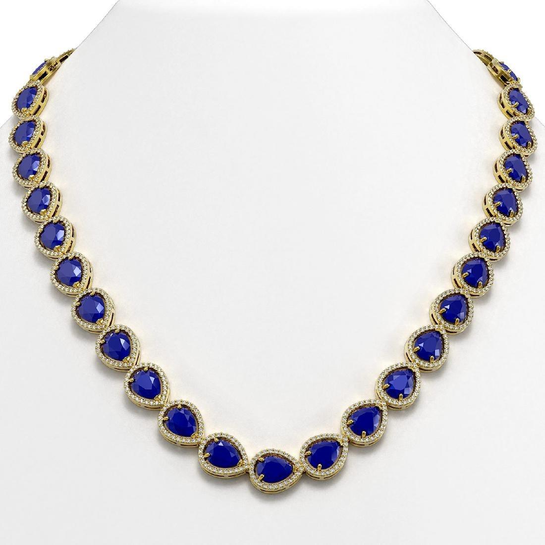 64.01 CTW Sapphire & Diamond Halo Necklace 10K Yellow