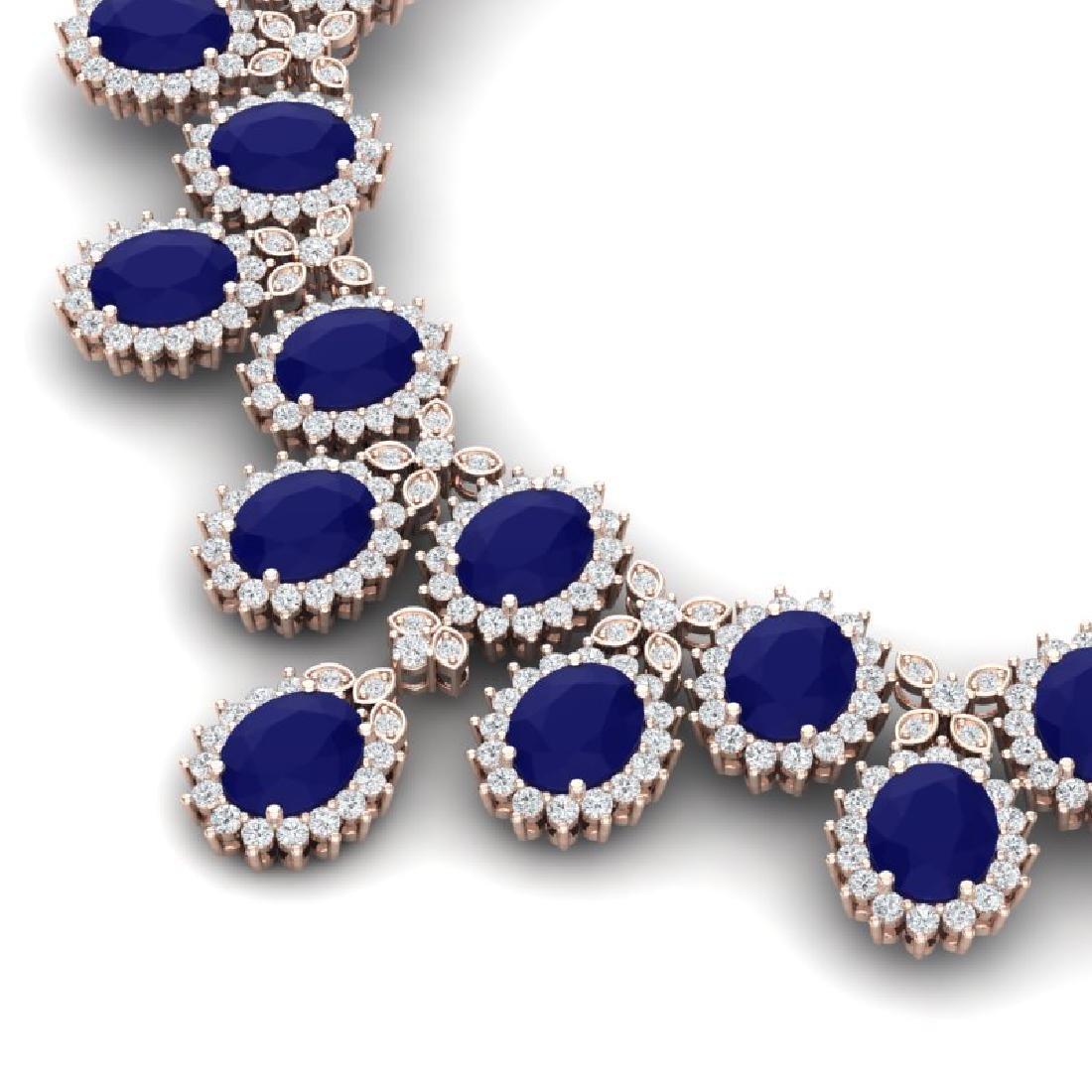 81 CTW Royalty Sapphire & VS Diamond Necklace 18K Rose - 2