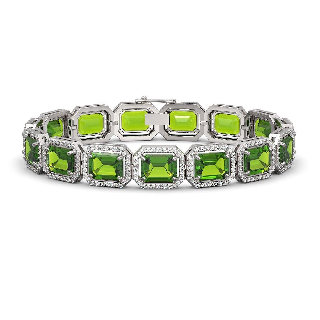 33.37 CTW Peridot & Diamond Halo Bracelet 10K White