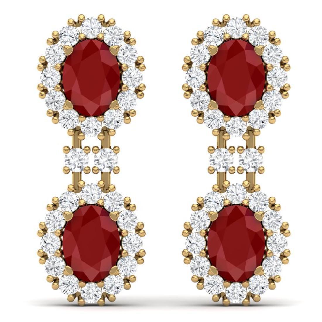 8.98 CTW Royalty Designer Ruby & VS Diamond Earrings