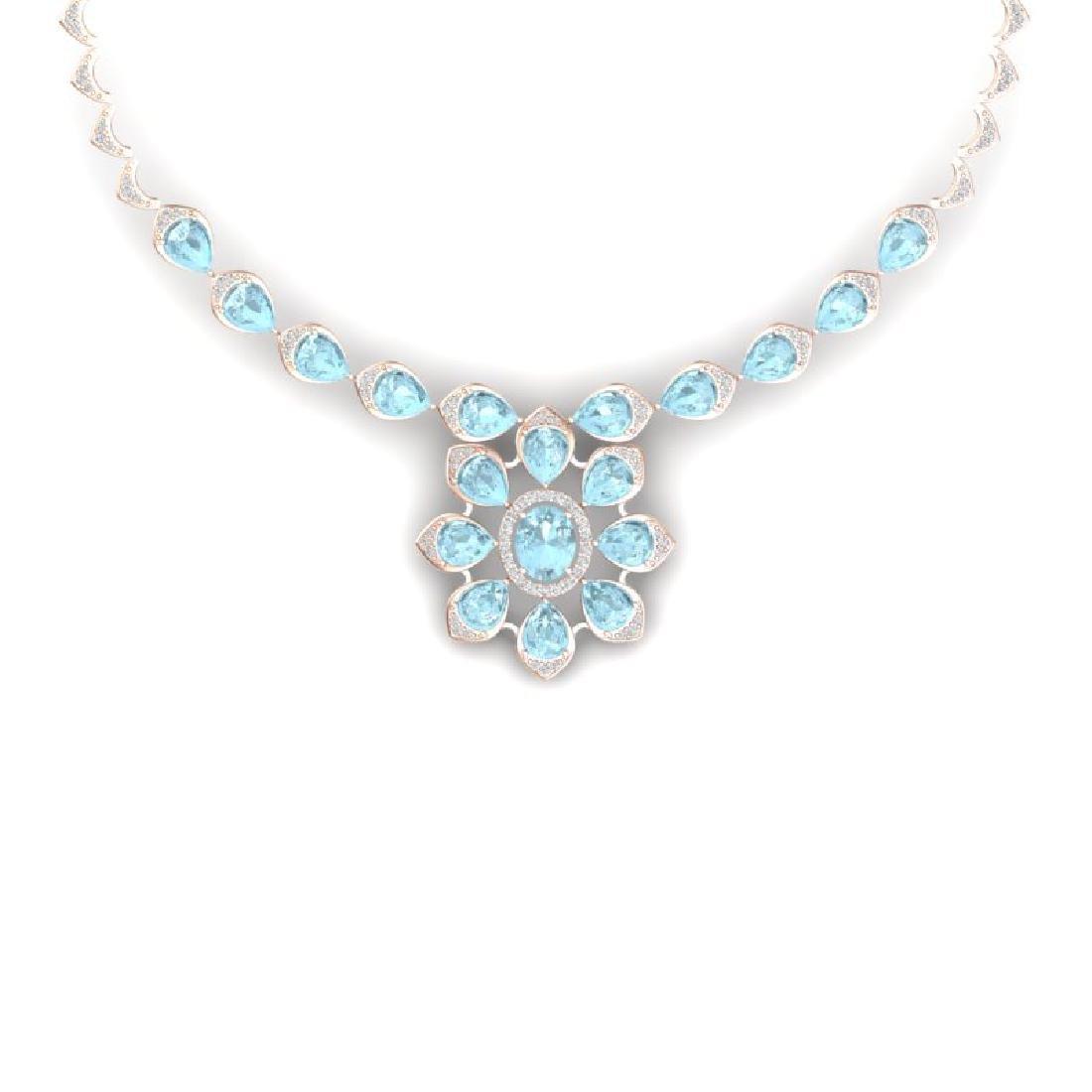 29.34 CTW Royalty Sky Topaz & VS Diamond Necklace 18K