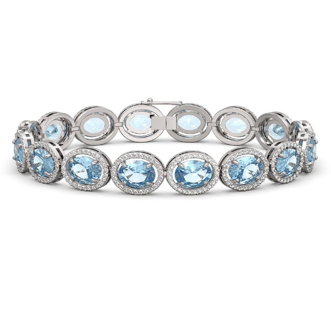 23.44 CTW Aquamarine & Diamond Halo Bracelet 10K White