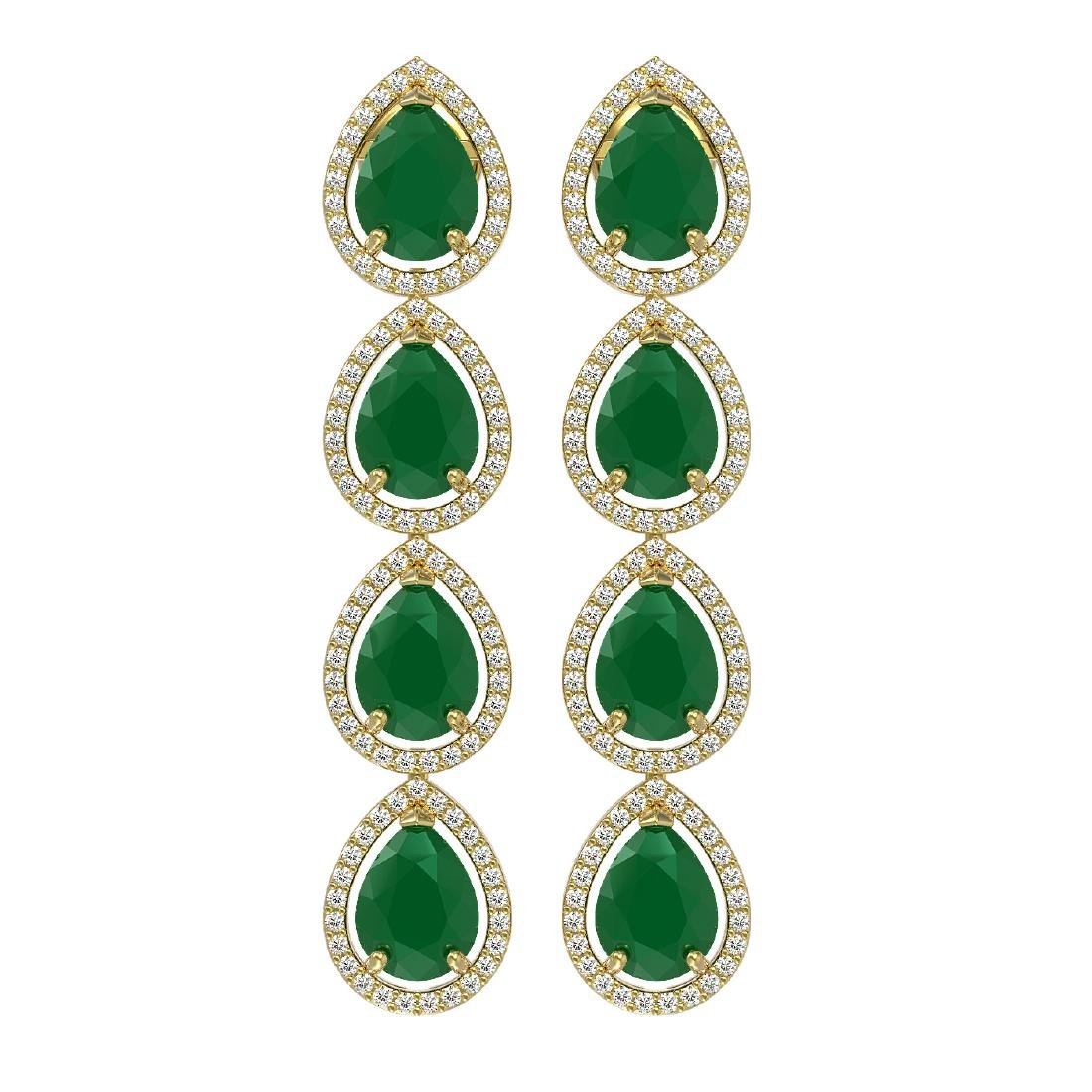 16.01 CTW Emerald & Diamond Halo Earrings 10K Yellow