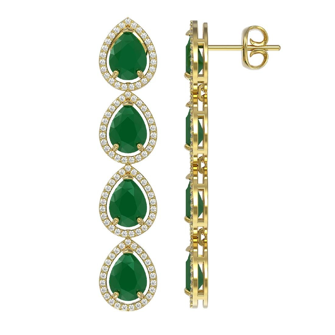 16.01 CTW Emerald & Diamond Halo Earrings 10K Yellow - 2