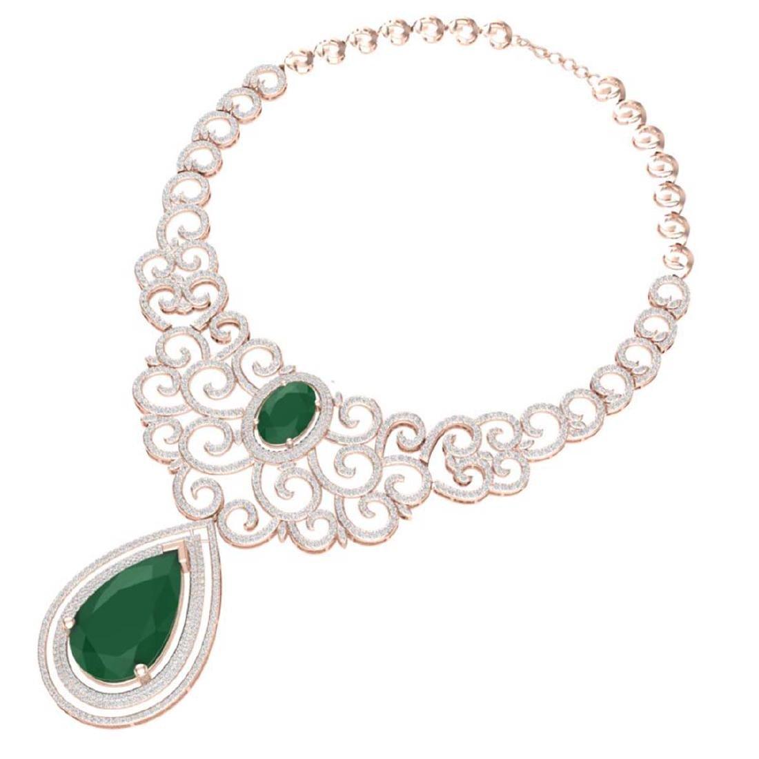 87.52 CTW Royalty Emerald & VS Diamond Necklace 18K - 3