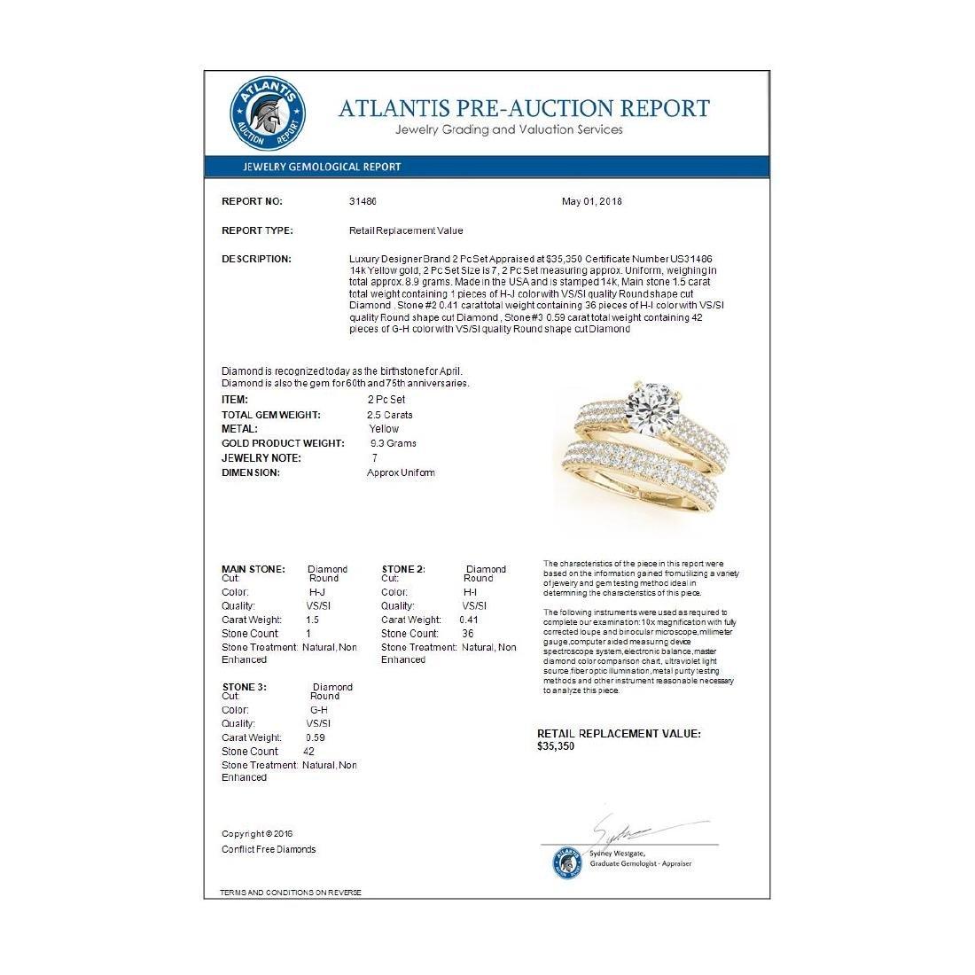 2.5 CTW Certified VS/SI Diamond Solitaire 2Pc Wedding - 4