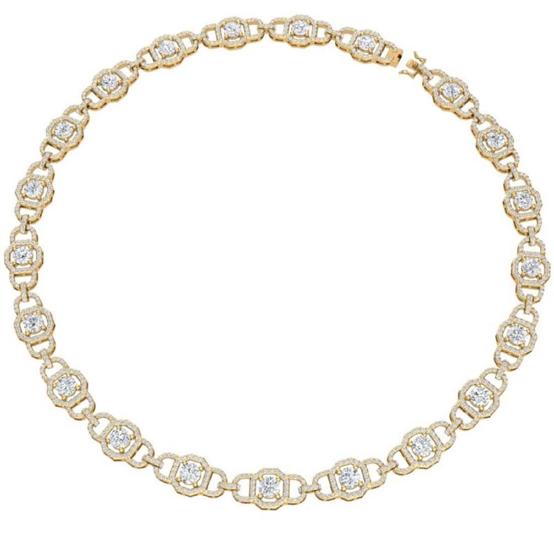 25 CTW Certified SI/I Diamond Halo Necklace 18K Yellow - 3