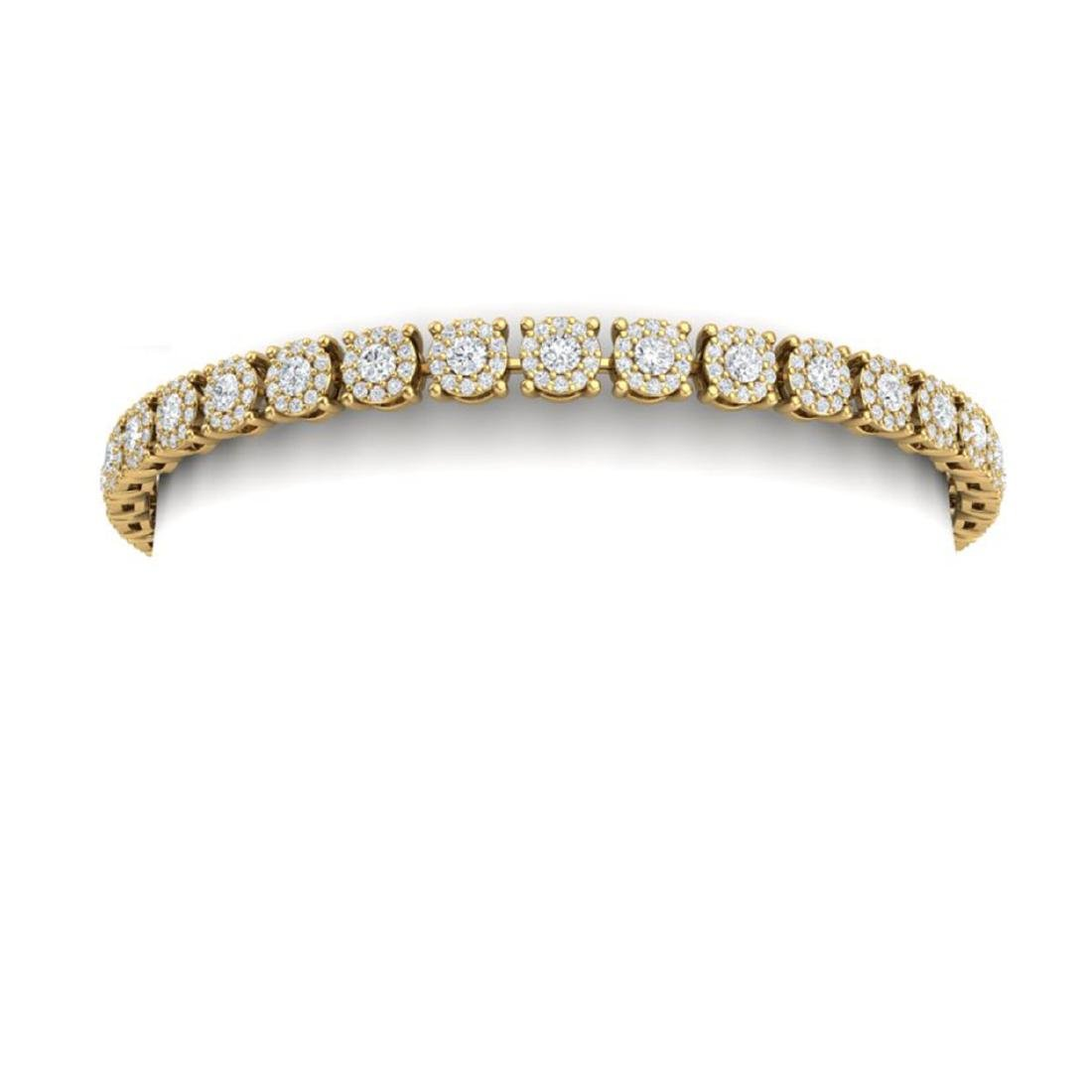 5 CTW Certified SI/I Diamond Halo Bracelet 18K Yellow - 2
