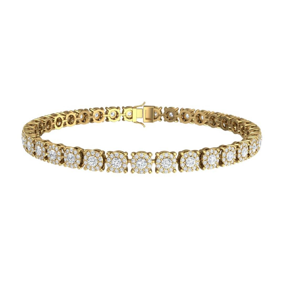 5 CTW Certified SI/I Diamond Halo Bracelet 18K Yellow - 3