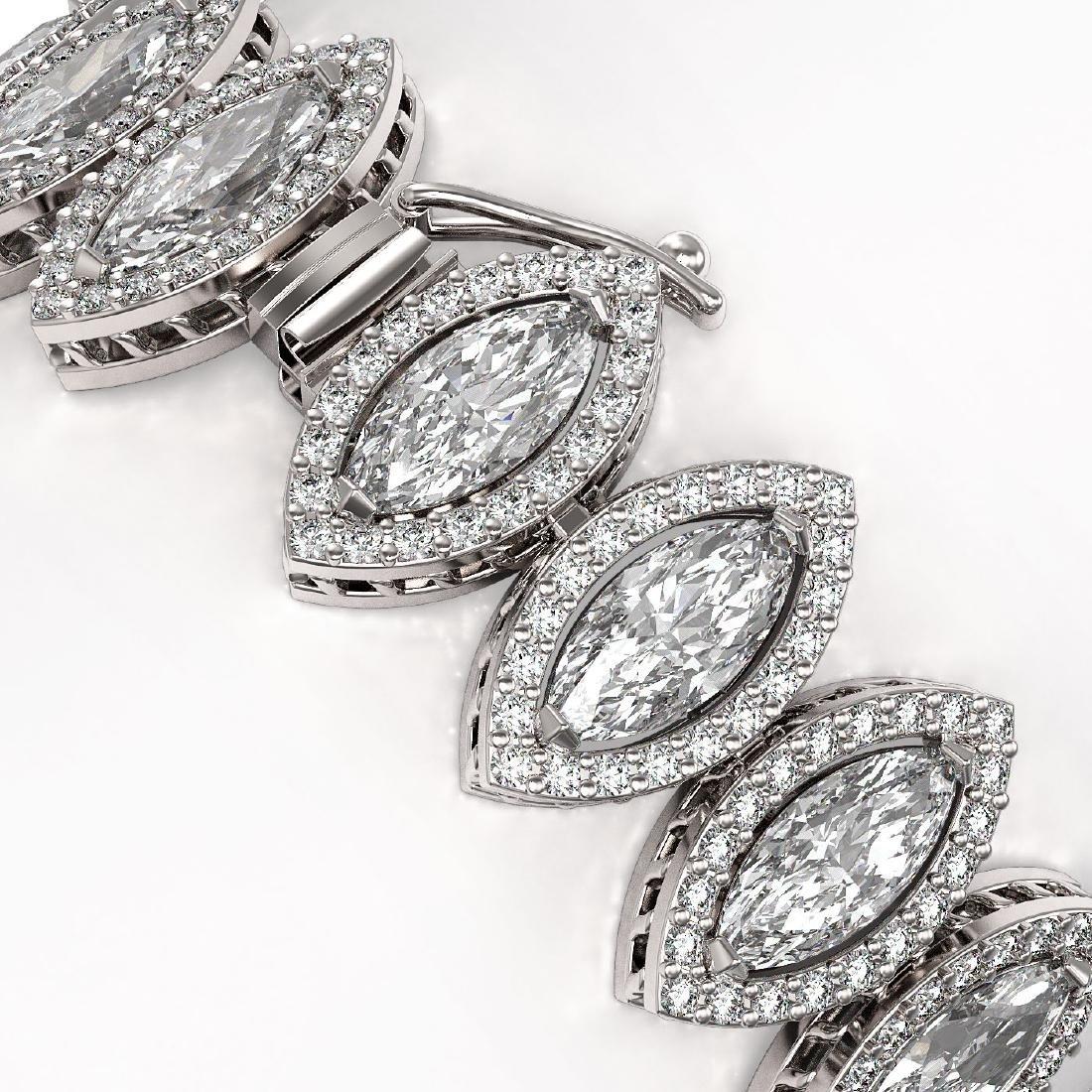 20.25 CTW Marquise Diamond Designer Bracelet 18K White - 3