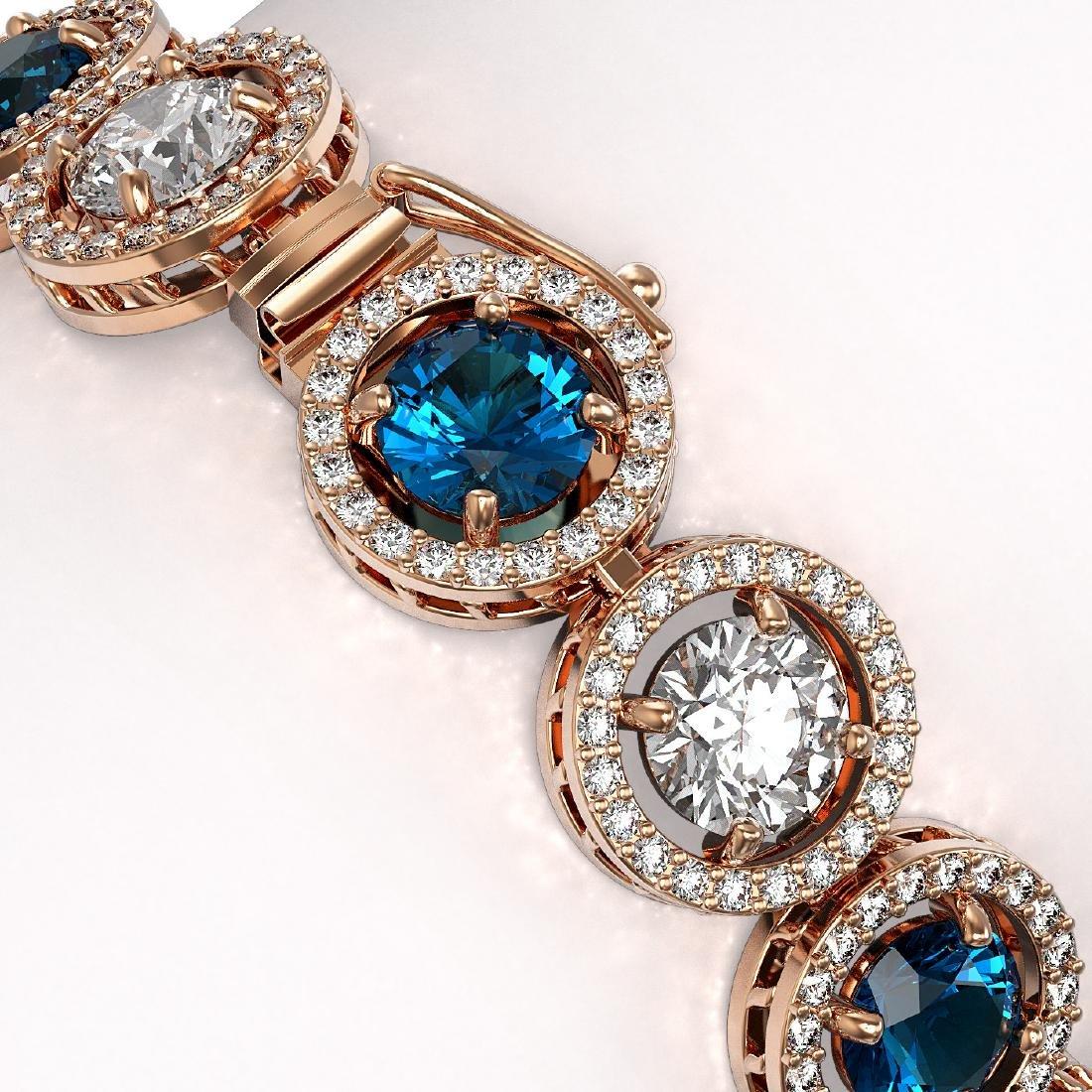 15.35 CTW Blue & White Diamond Designer Bracelet 18K - 3