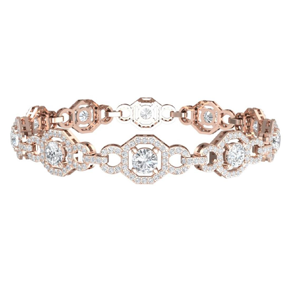 12 CTW Certified SI/I Diamond Halo Bracelet 18K Rose - 3