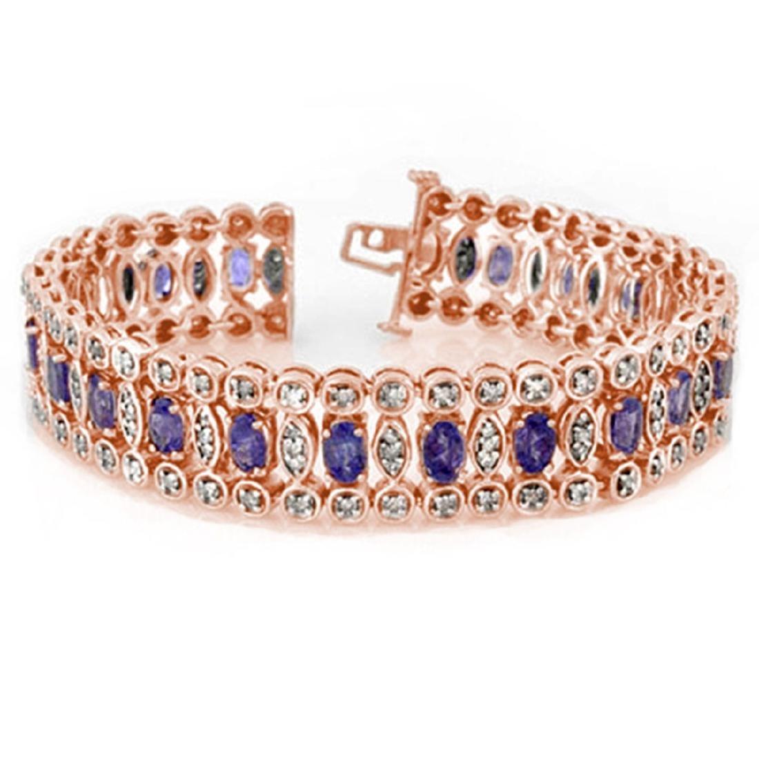 17.50 CTW Tanzanite & Diamond Bracelet 18K Rose Gold -