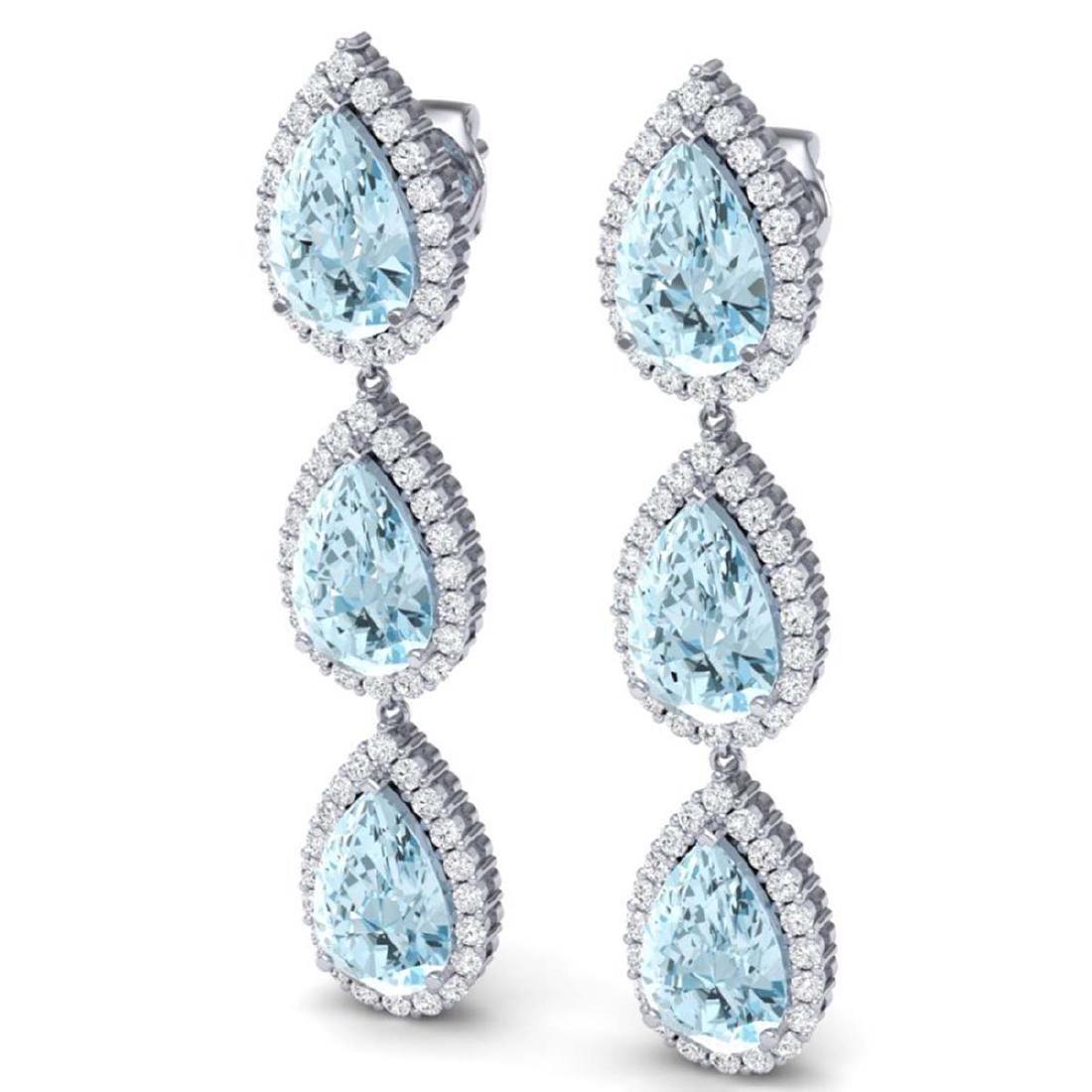 27.3 CTW Royalty Sky Topaz & VS Diamond Earrings 18K - 2