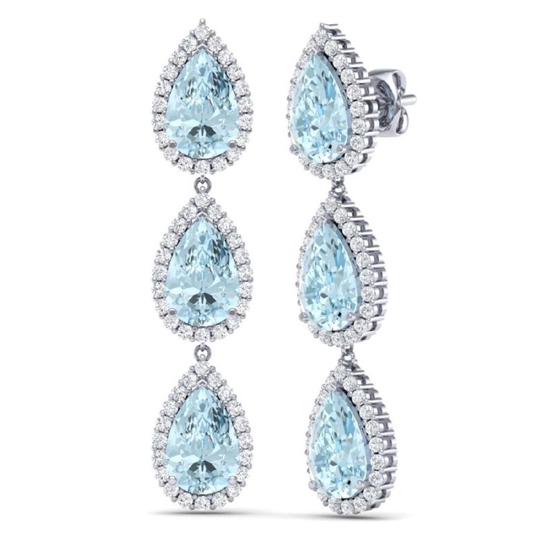 27.3 CTW Royalty Sky Topaz & VS Diamond Earrings 18K - 3