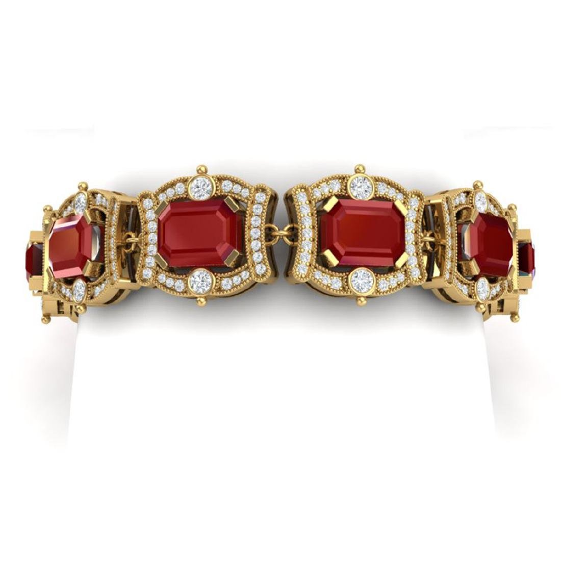 43.87 CTW Royalty Ruby & VS Diamond Bracelet 18K Yellow