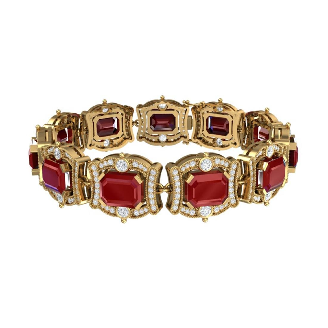 43.87 CTW Royalty Ruby & VS Diamond Bracelet 18K Yellow - 3