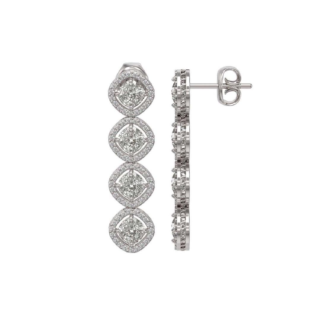 5.85 CTW Cushion Cut Diamond Designer Earrings 18K - 2