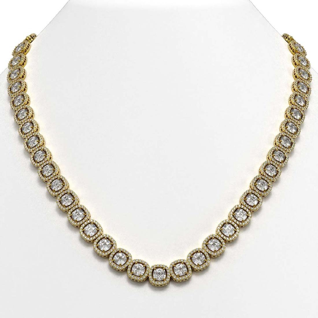 37.60 CTW Cushion Diamond Designer Necklace 18K Yellow