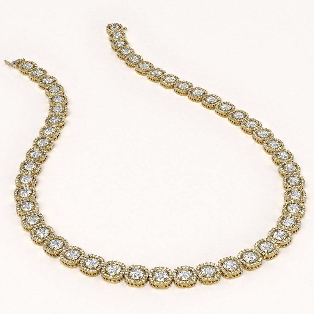 37.60 CTW Cushion Diamond Designer Necklace 18K Yellow - 2