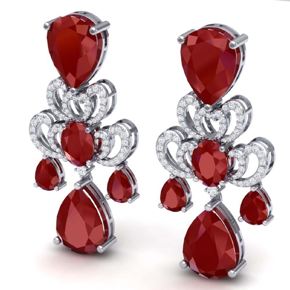 58.73 CTW Royalty Designer Ruby & VS Diamond Earrings - 2