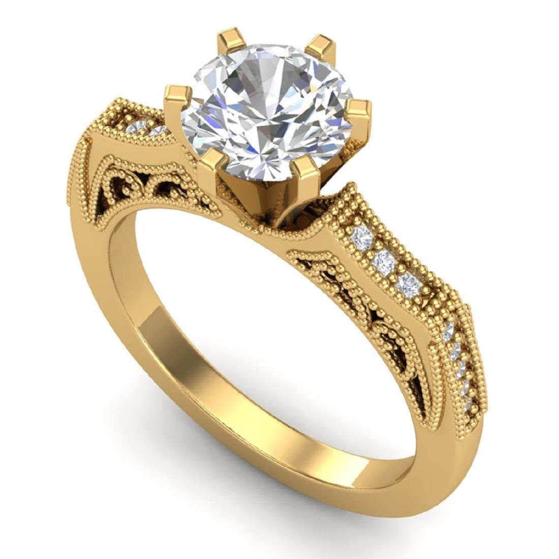 1.51 CTW VS/SI Diamond Solitaire Art Deco Ring 18K
