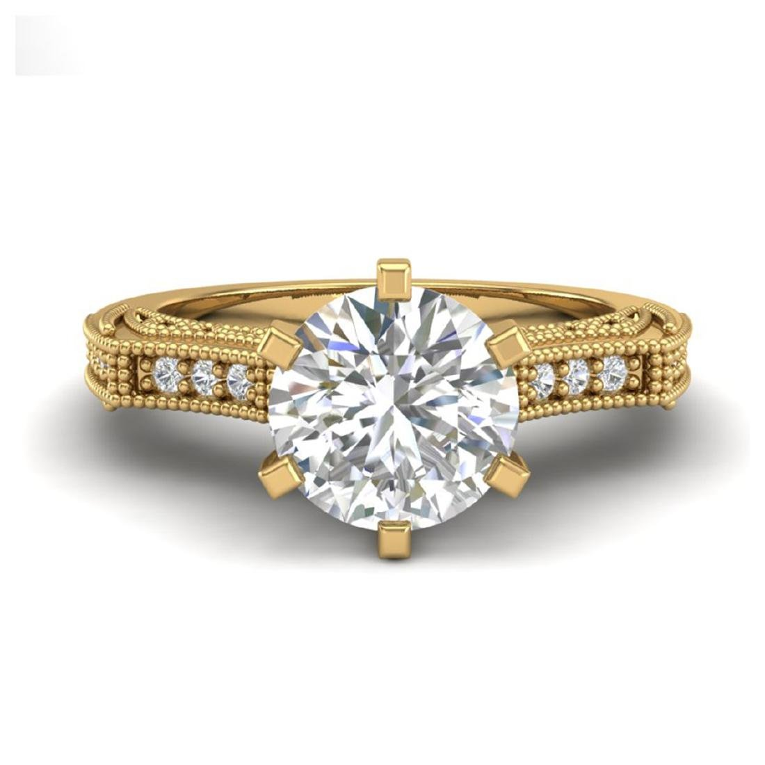 1.51 CTW VS/SI Diamond Solitaire Art Deco Ring 18K - 2