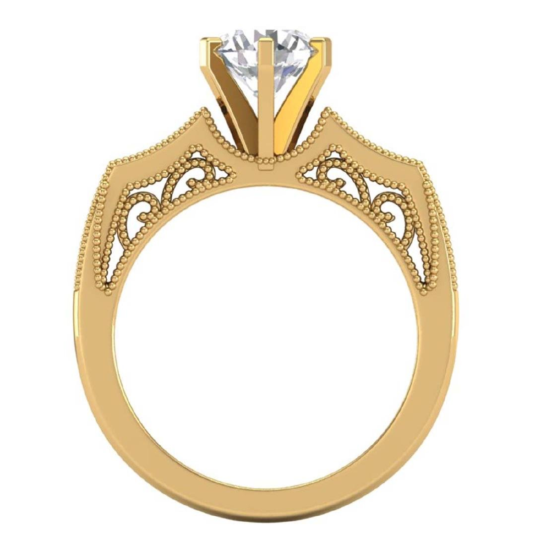 1.51 CTW VS/SI Diamond Solitaire Art Deco Ring 18K - 3