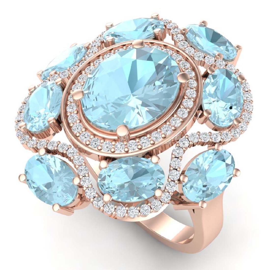 9.26 CTW Royalty Sky Topaz & VS Diamond Ring 18K Rose