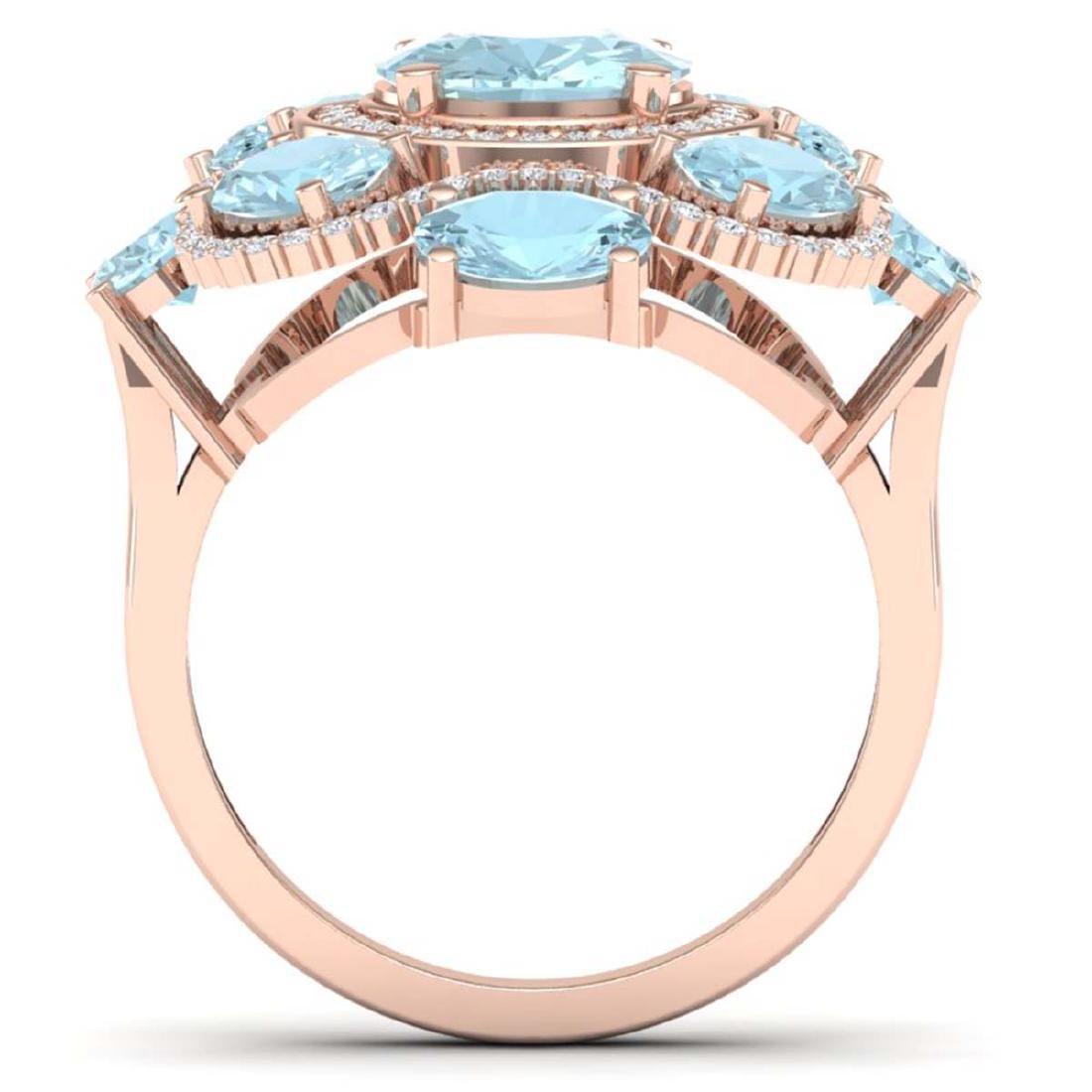 9.26 CTW Royalty Sky Topaz & VS Diamond Ring 18K Rose - 3