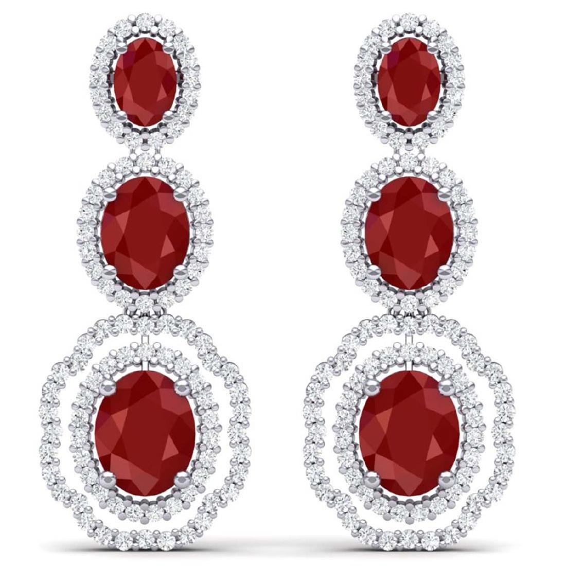 17.01 CTW Royalty Designer Ruby & VS Diamond Earrings