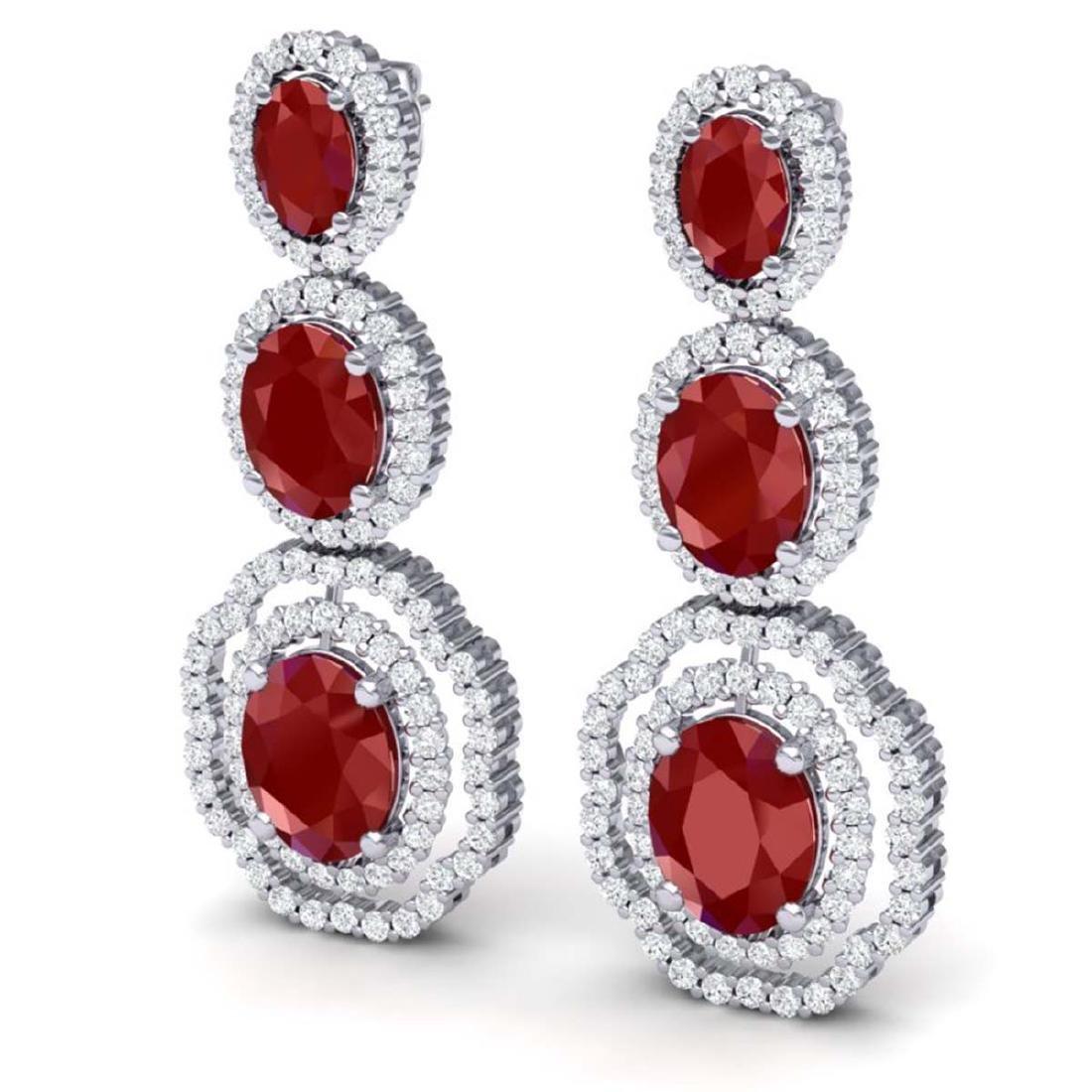17.01 CTW Royalty Designer Ruby & VS Diamond Earrings - 2