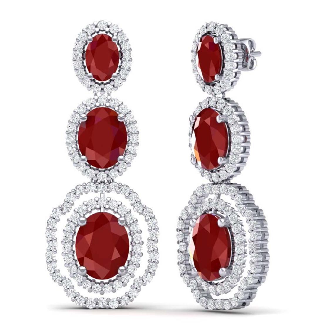 17.01 CTW Royalty Designer Ruby & VS Diamond Earrings - 3