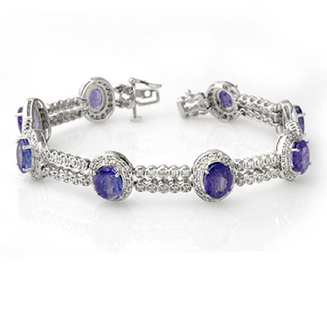 21.25 CTW Tanzanite & Diamond Bracelet 18K White Gold -