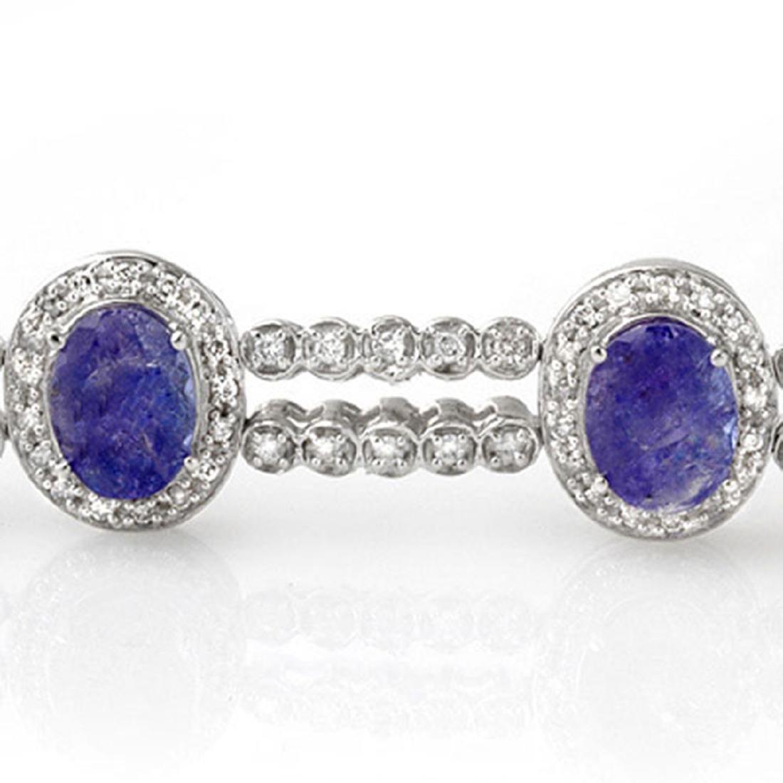 21.25 CTW Tanzanite & Diamond Bracelet 18K White Gold - - 2