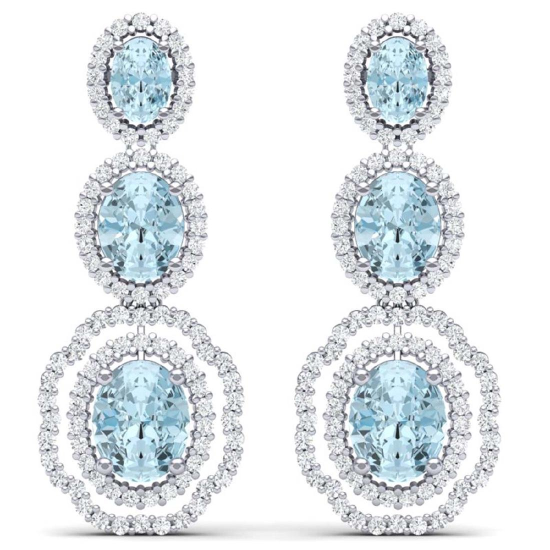 17.46 CTW Royalty Sky Topaz & VS Diamond Earrings 18K