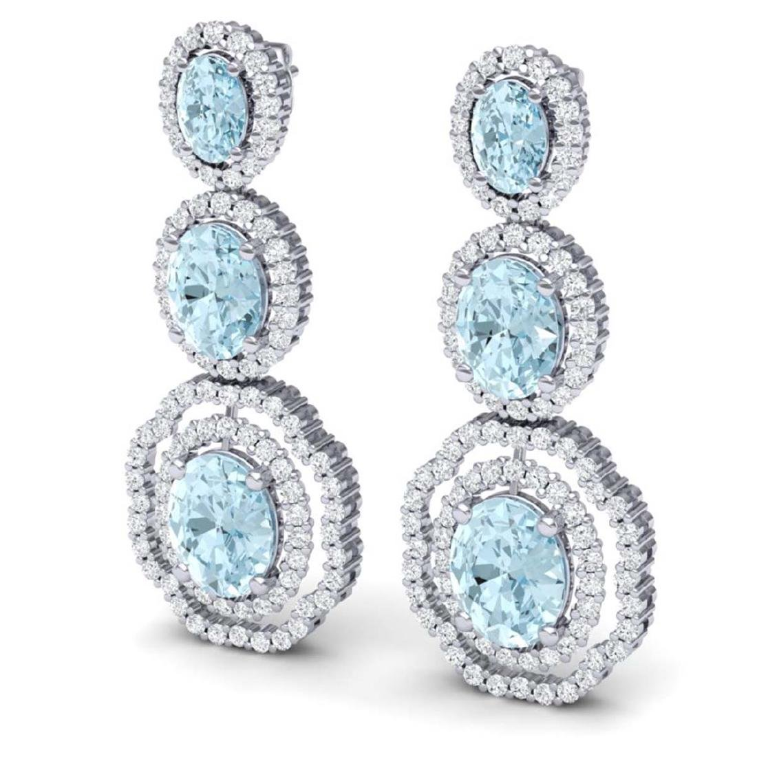 17.46 CTW Royalty Sky Topaz & VS Diamond Earrings 18K - 2