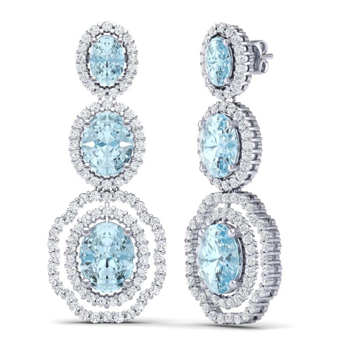 17.46 CTW Royalty Sky Topaz & VS Diamond Earrings 18K - 3