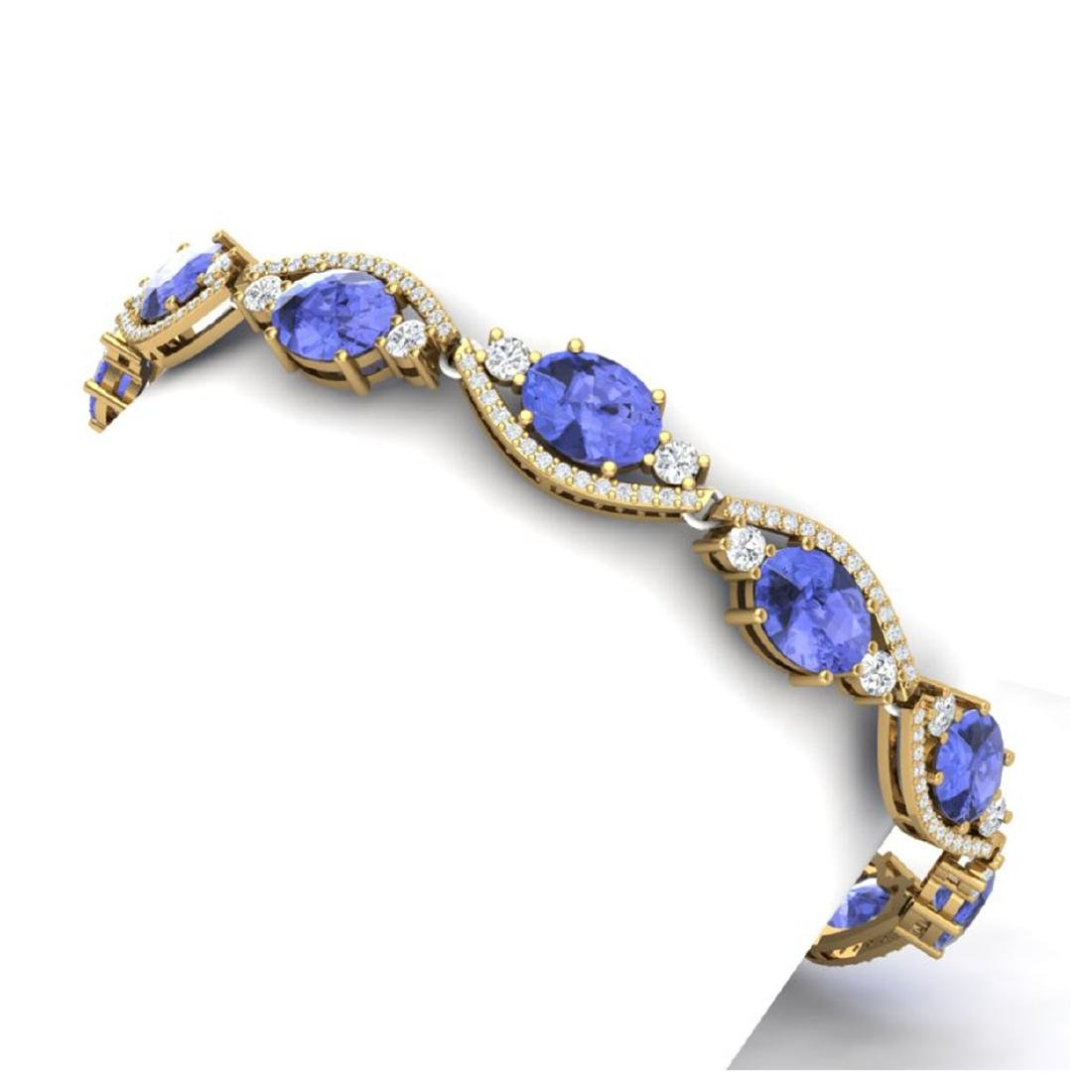 20.5 CTW Royalty Tanzanite & VS Diamond Bracelet 18K - 2
