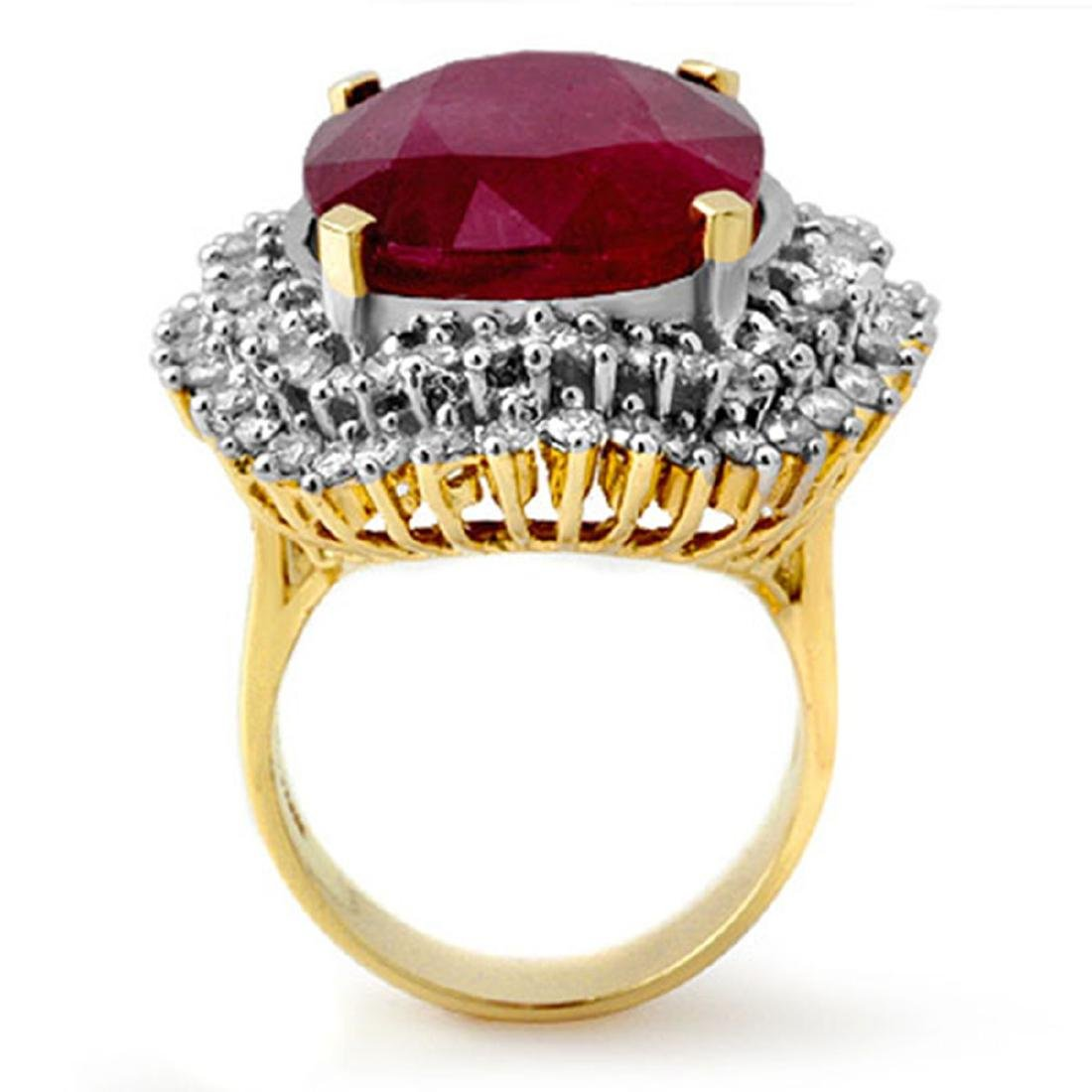 31.12 CTW Ruby & Diamond Ring 14K Yellow Gold - - 2