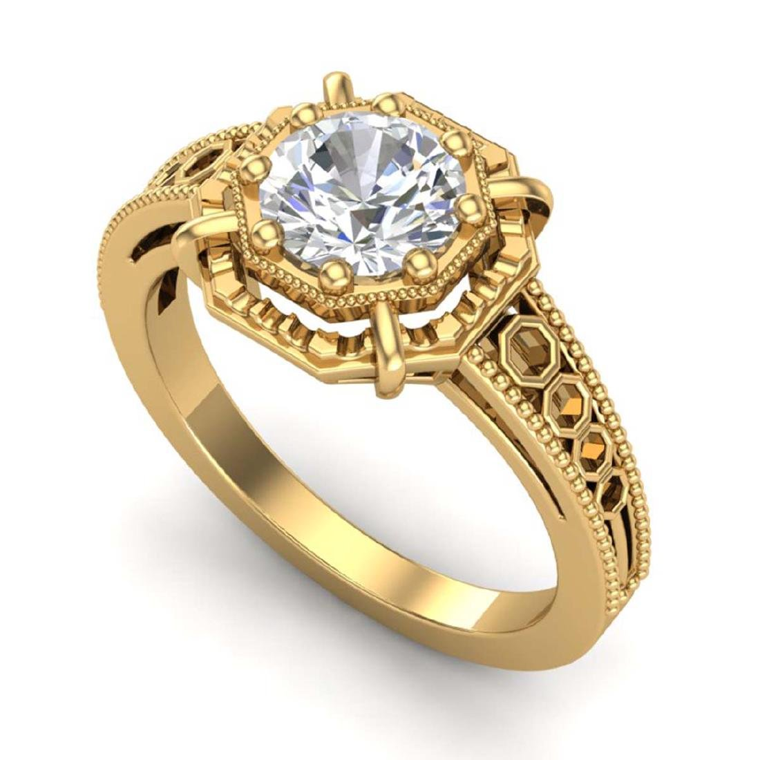 1 CTW VS/SI Diamond Solitaire Art Deco Ring 18K Yellow
