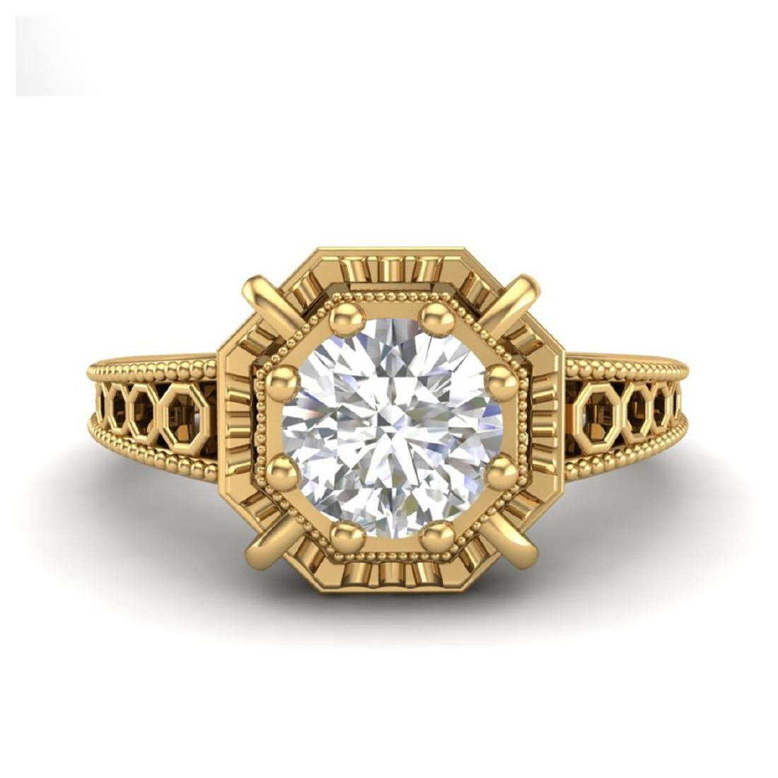1 CTW VS/SI Diamond Solitaire Art Deco Ring 18K Yellow - 2