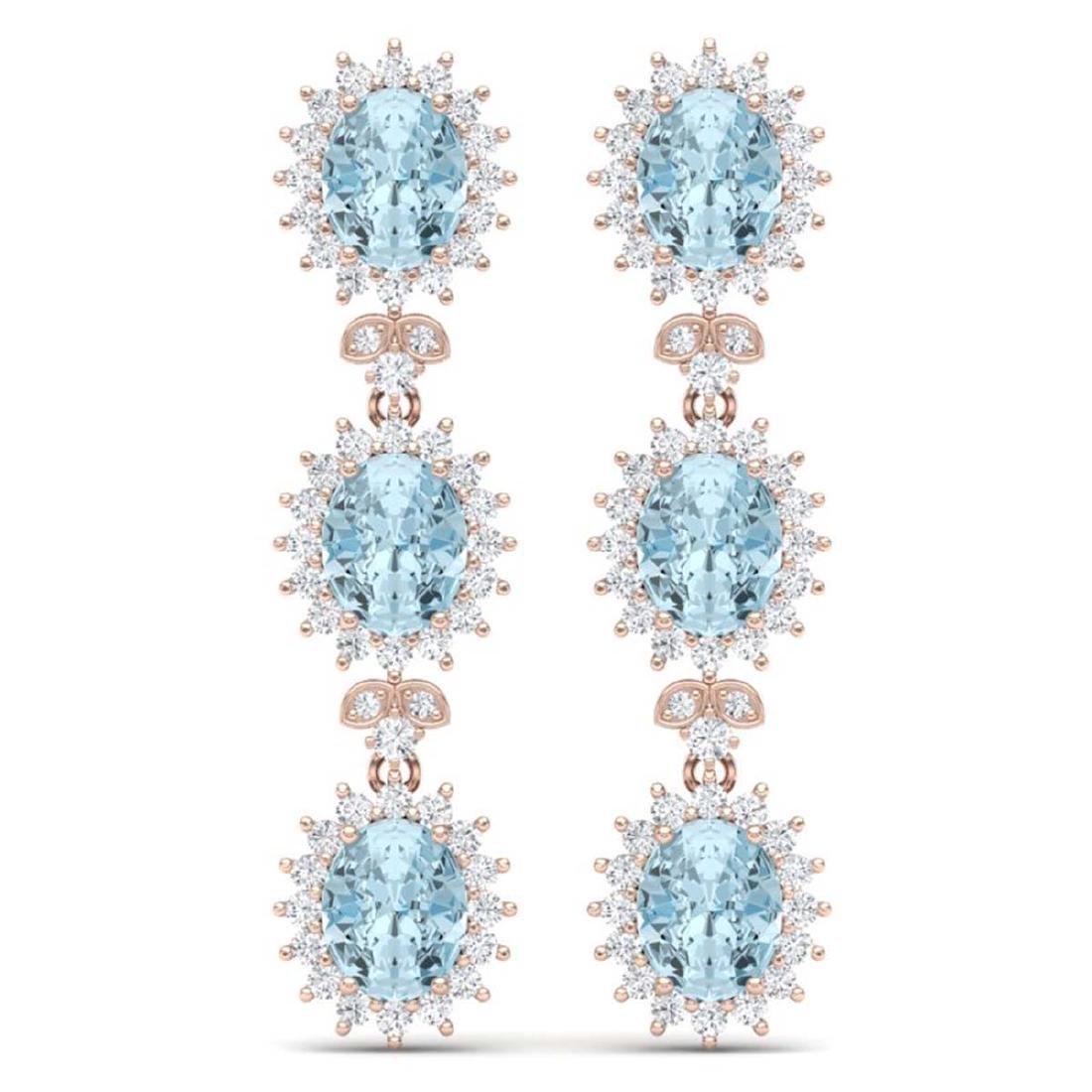 25.06 CTW Royalty Sky Topaz & VS Diamond Earrings 18K