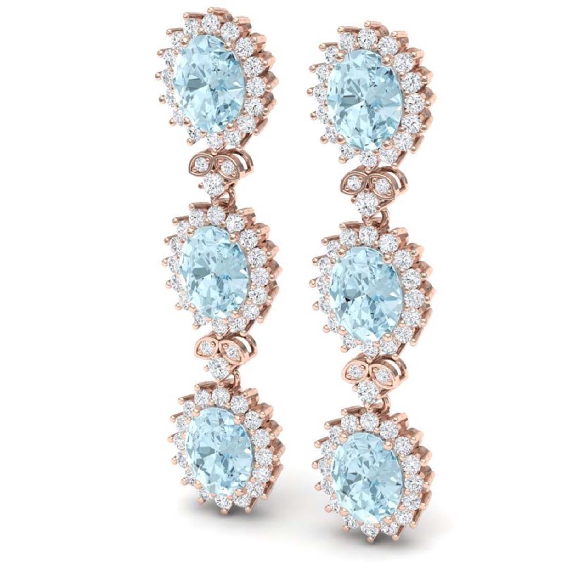 25.06 CTW Royalty Sky Topaz & VS Diamond Earrings 18K - 2