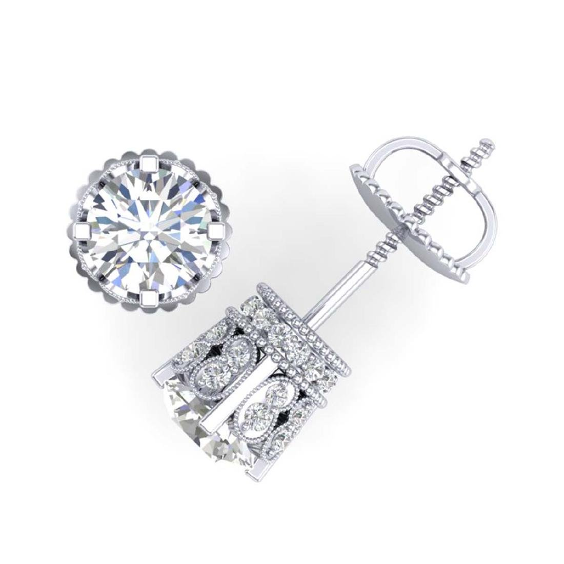 3 CTW VS/SI Diamond Solitaire Art Deco Stud Earrings - 3