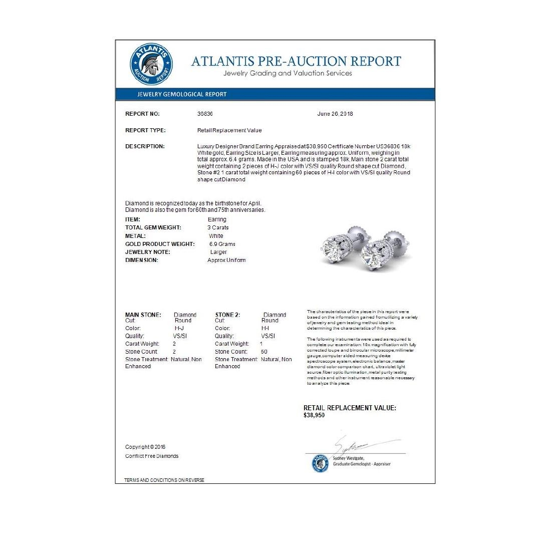 3 CTW VS/SI Diamond Solitaire Art Deco Stud Earrings - 4