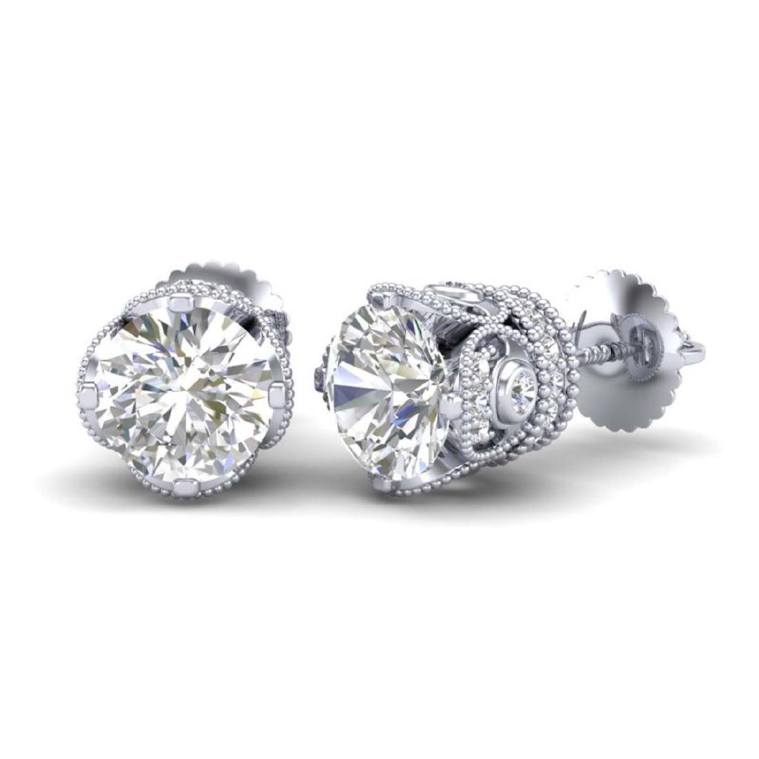 3 CTW VS/SI Diamond Solitaire Art Deco Stud Earrings - 2